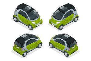 Isometric Hybrid Car. City car isolated on white background. Vector compact smart car. Vehicles isolated.