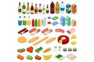 Isometric big set of foodstuff. Vector food Icons set.