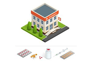 Isometric pharmacy store. Facade of pharmacy in the urban space, the sale of drugs and pills.
