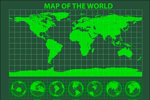 Green phosphor map of the world