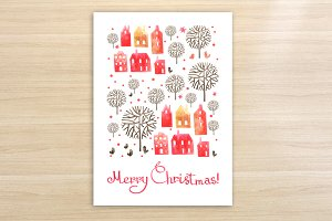 Watercolor Christmas card & patterns