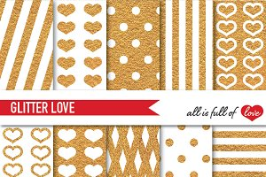Golden Pattern Glitter Digital Paper