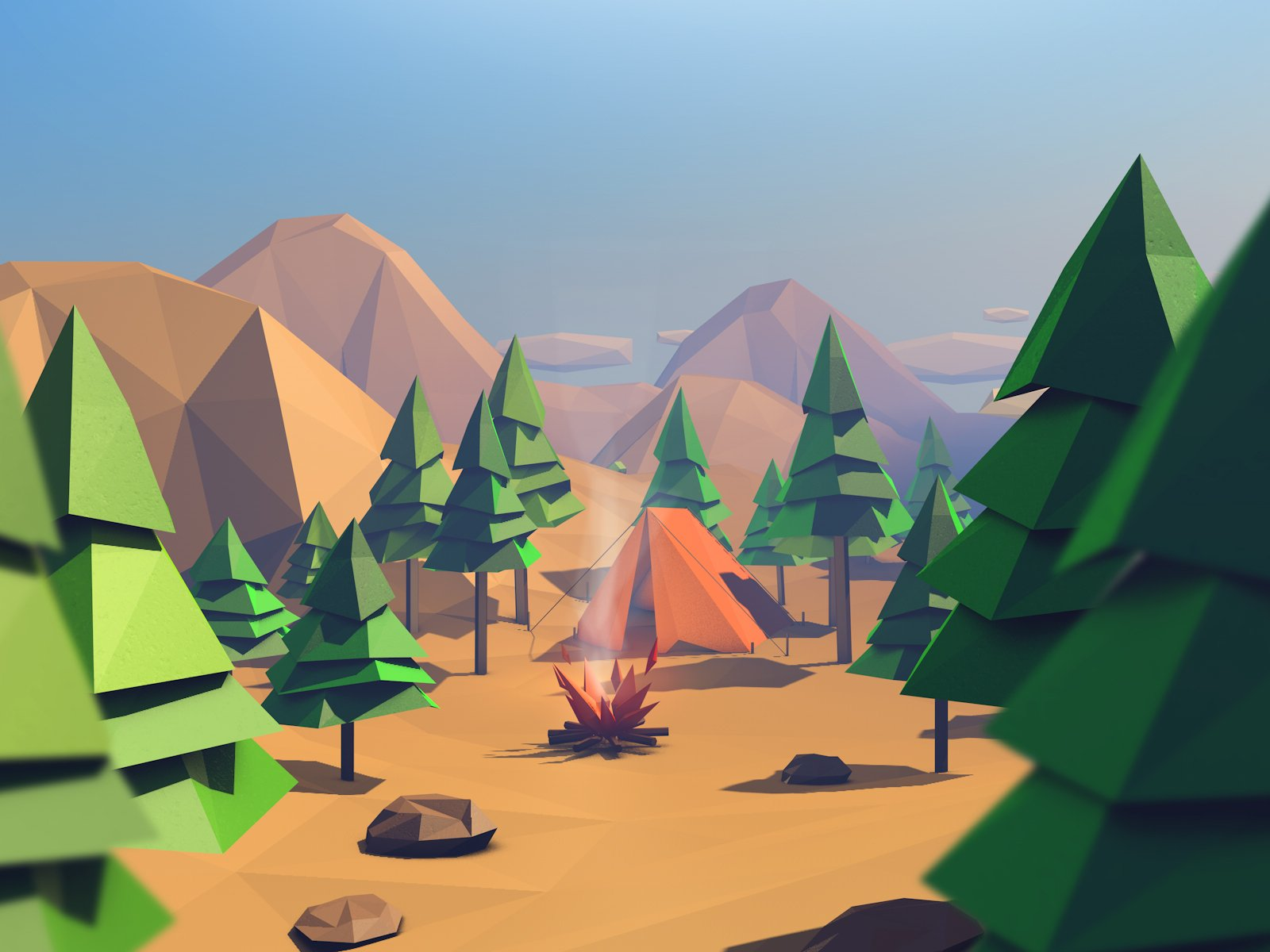 Low Poly Forest Island Nature Environments Creative Market