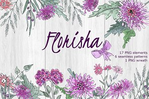 FLORISHA chrysanthemum watercolor
