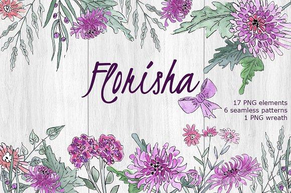 FLORISHA Chrysanthemum Watercolor