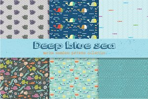 Set of 6 marine seamless patterns