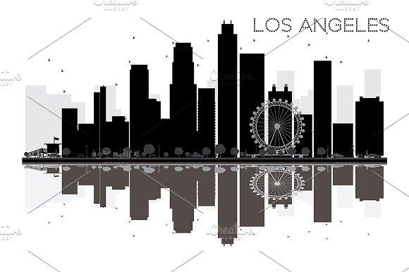 Los Angeles City skyline in Illustrations