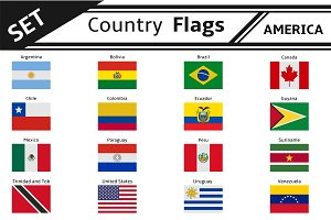 set countries flags america