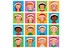 Icon set portraits of boys and girls
