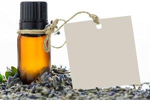 Essential oil and lavander flowers