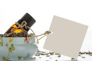 Essential oil inside a tin, lavander