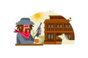 Cowboy drinks beer in pub