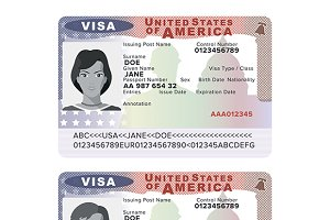 USA passport visa sticker template