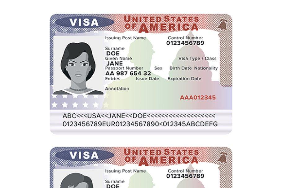 USA passport visa sticker template