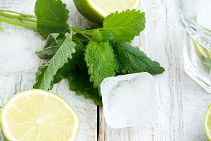 lime,mint, ice in glass