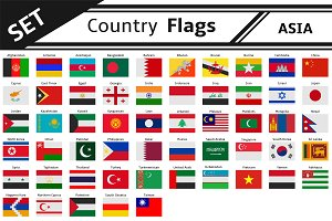 set countries flags asia