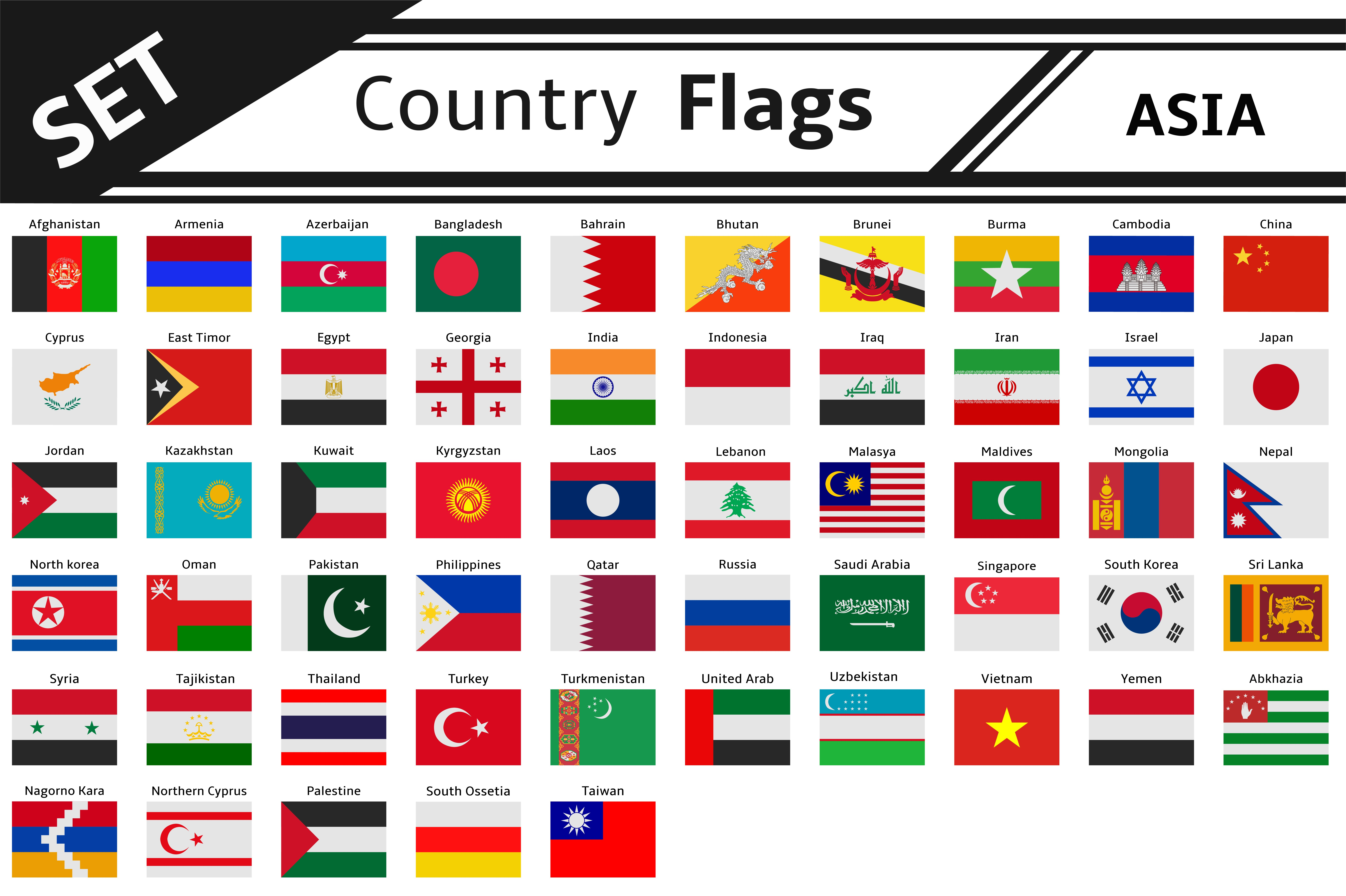 set countries flags asia illustrations creative market