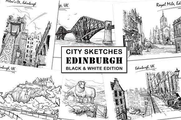Sketching Edinburgh - Ink Edition-Graphicriver中文最全的素材分享平台