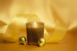 Christmas ornaments & candle