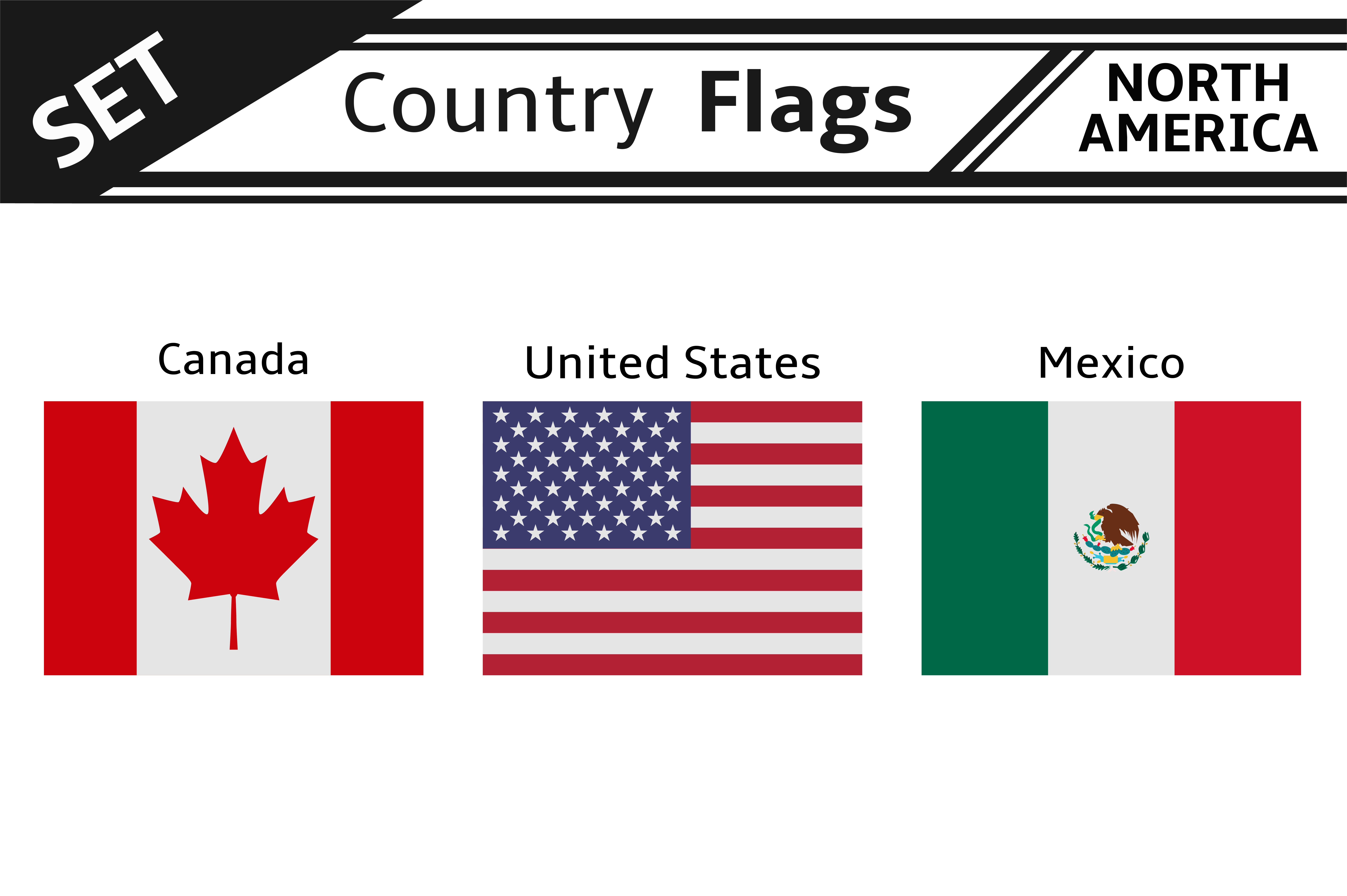 Set Countries Flags North America Illustrations Creative Market - north flags