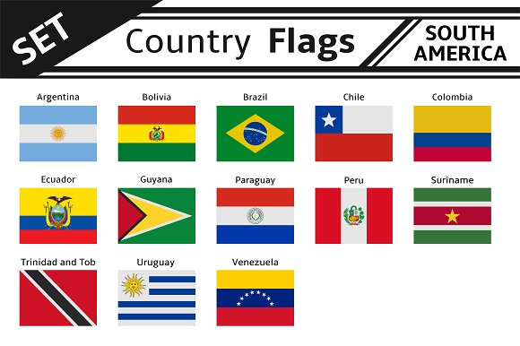 Set Countries Flags South America Illustrations