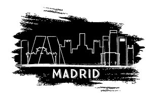 Madrid Skyline Silhouette.