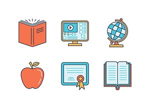Minimal education flat iconset