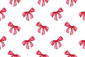 Watercolor tape bow seamless pattern