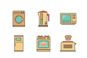 Minimal lineart flat household icons