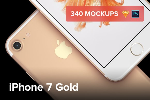 340 IPhone 7 Gold Mockups