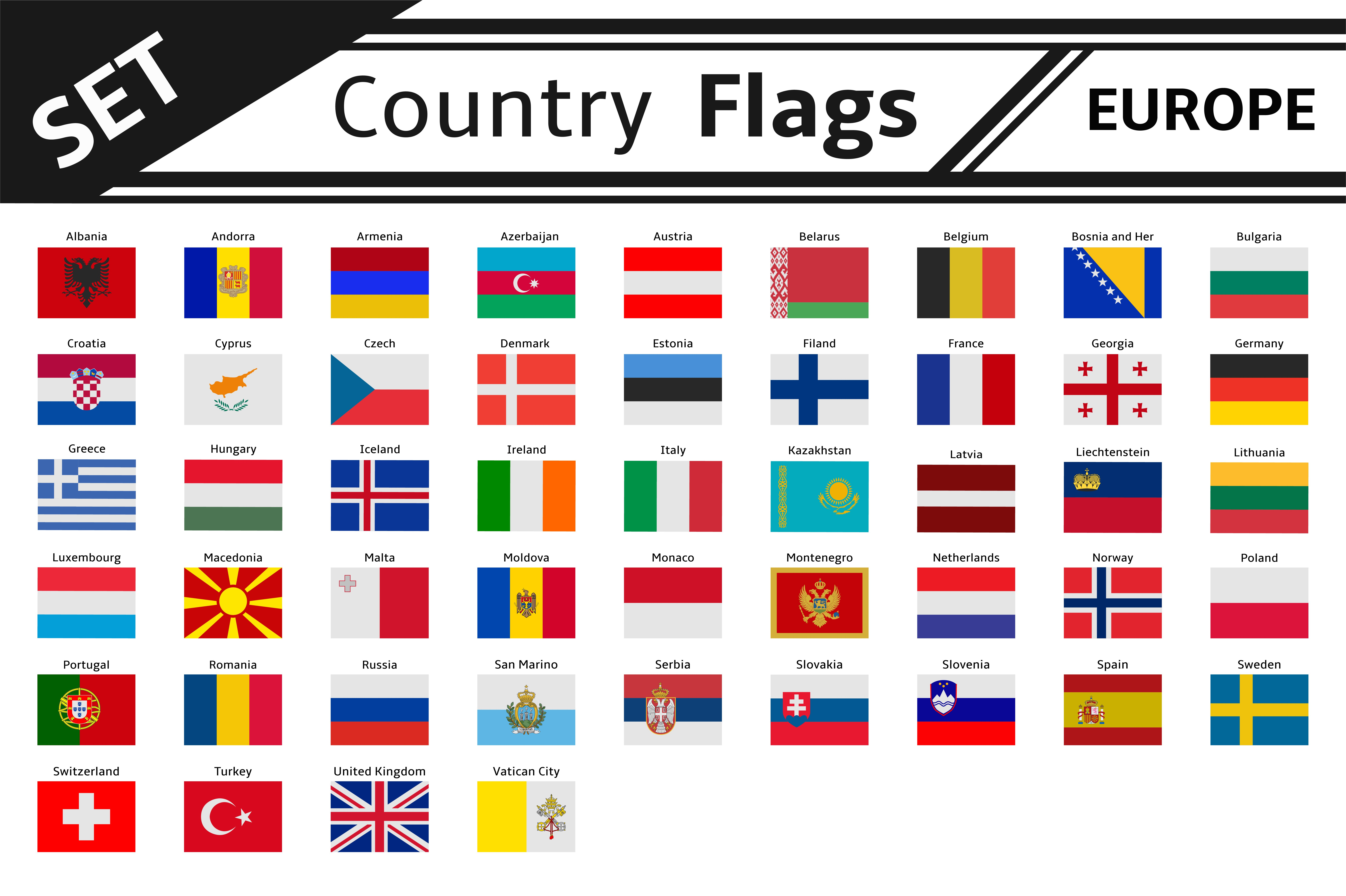 set countries flags europe illustrations creative market