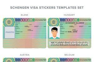 Hungary, Belgium, Austira visa stamp