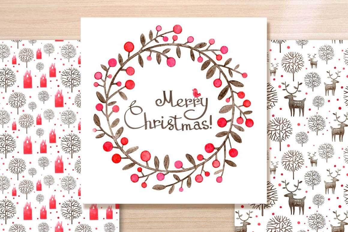 Christmas Wreath watercolor card ~ Graphic Patterns ~ Creative Market