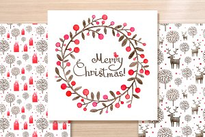 Christmas Wreath watercolor card