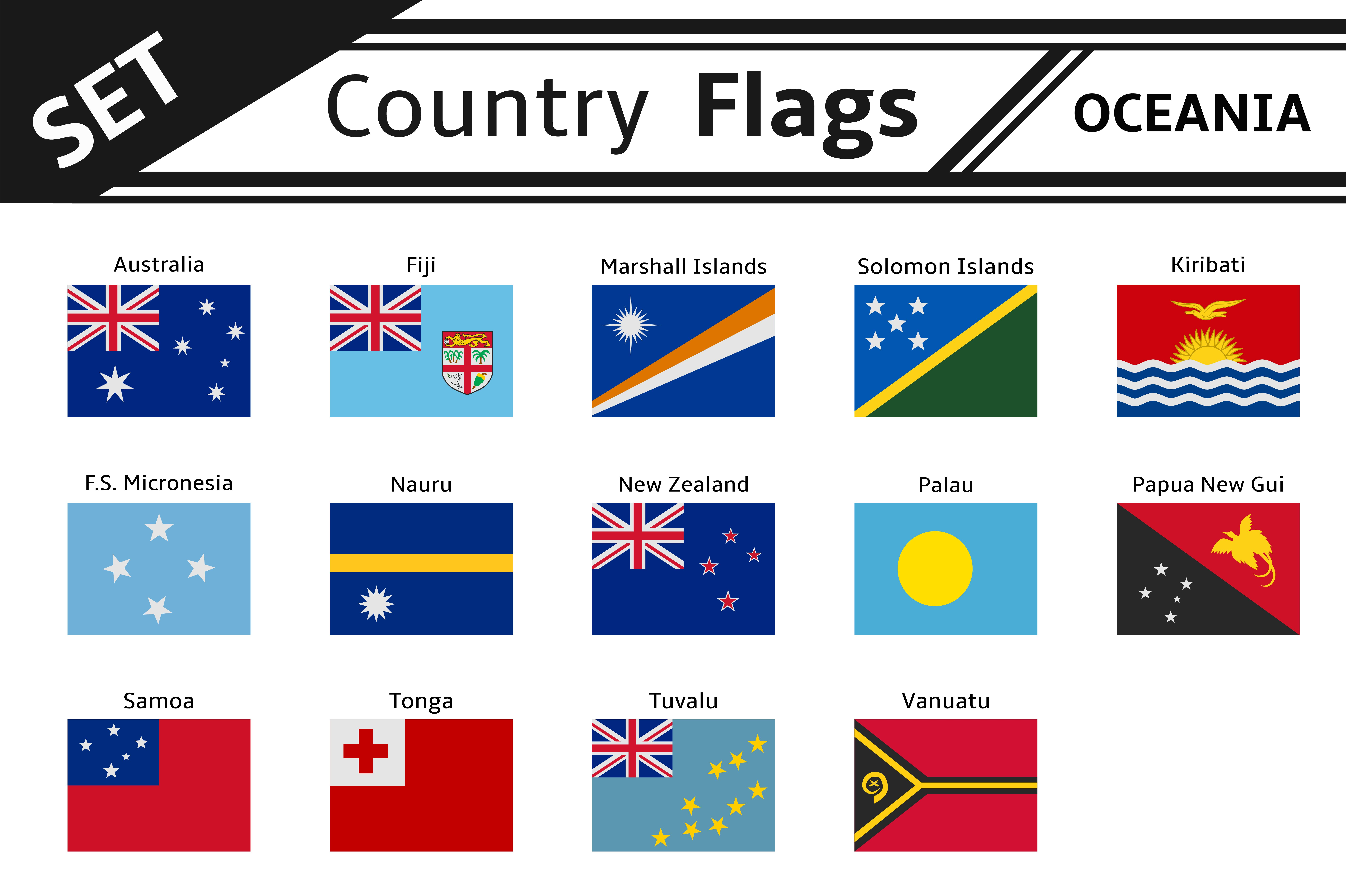 set countries flags oceania illustrations creative market