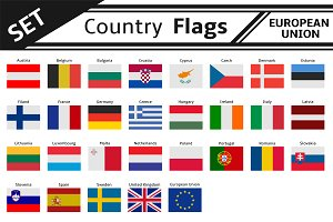 set countries flags european union