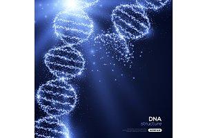 Shining DNA Spirals on Blue Background.