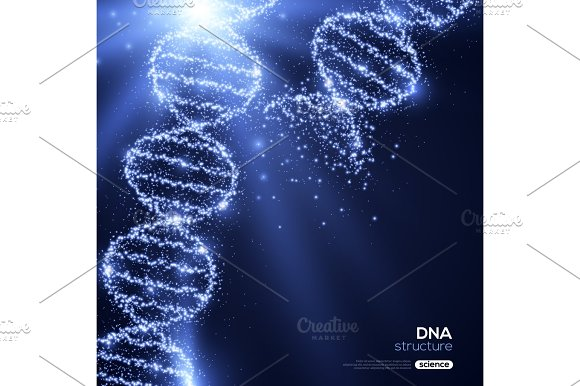 Shining DNA Spirals On Blue Background