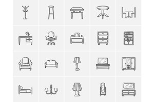 Furniture sketch icon set.
