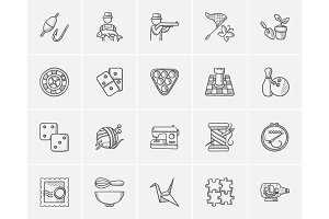 Hobby sketch icon set.