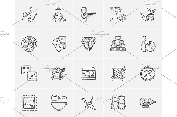 Hobby Sketch Icon Set