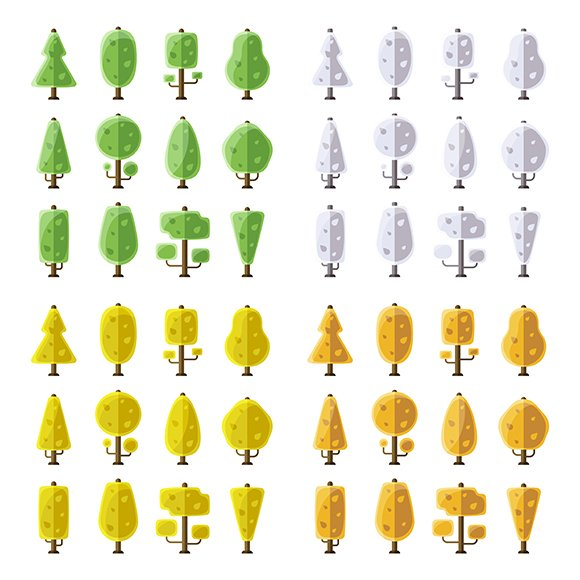 Seasonal Flat Trees Iconset