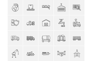 Industry sketch icon set.