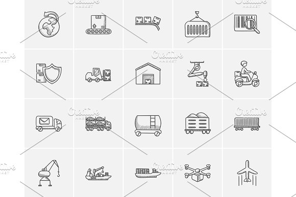 Industry Sketch Icon Set