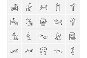Lifestyle sketch icon set.