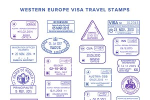 Western Europe visa board stamps set