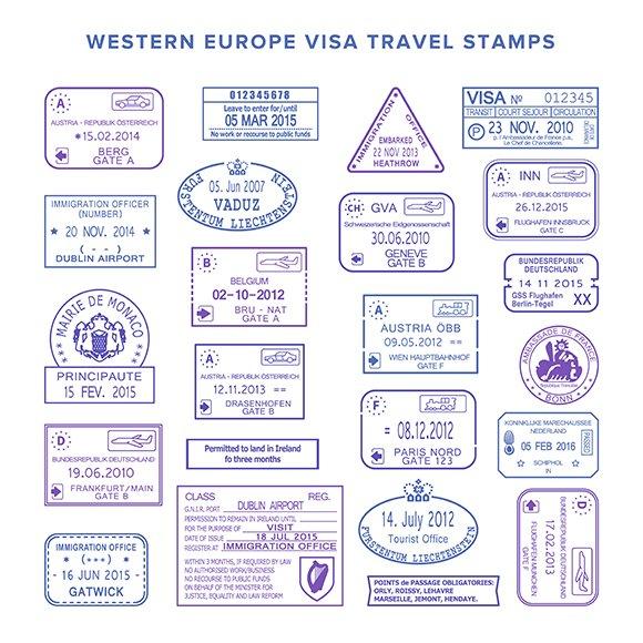 Western Europe Visa Board Stamps Set