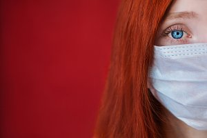 Girl with a medical mask