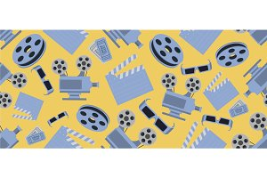 Cinema seamless pattern with movie objects. Clapperboard, tickets, 3d glasses and camera on yellow background