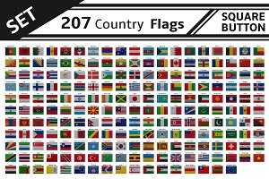 207 countries flags square button
